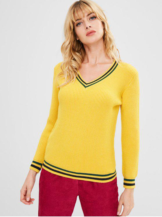 8b412d9d5 38% OFF  2019 V Neck Stripes Panel Sweater In BRIGHT YELLOW