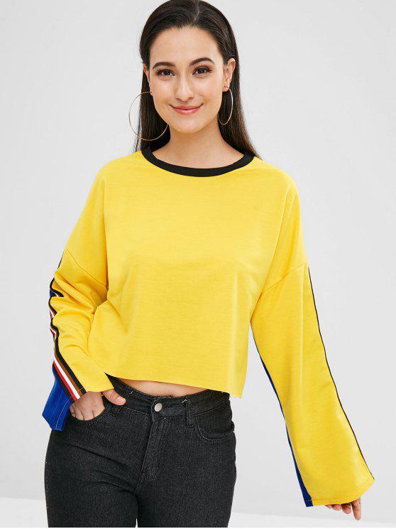 Sweat-shirt en Deux Couleurs à Ourlet Brut Contrasté - Jaune de Maïs  XL