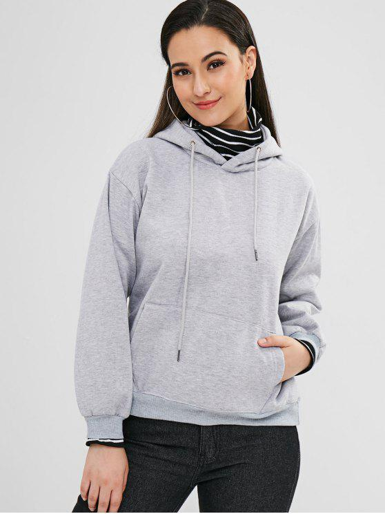 outfits Pocket Fleece Pullover Hoodie - GRAY XL