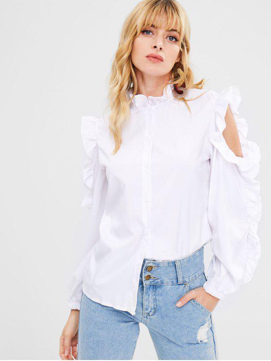 women's Cutout Ruffles Blouse - WHITE L