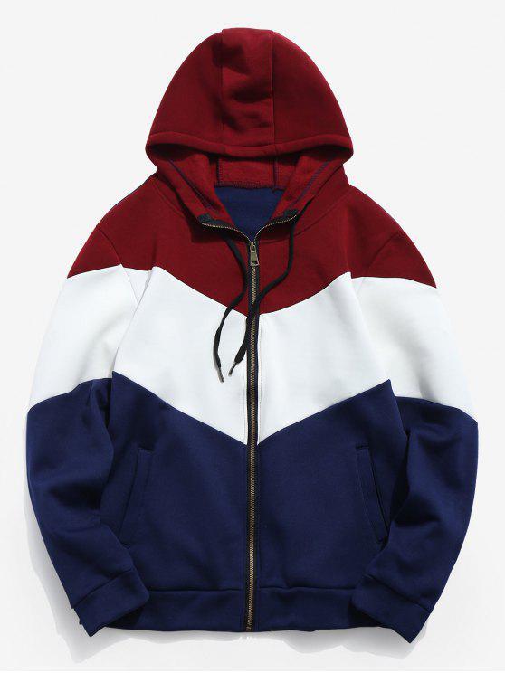 trendy Panel Zip Up Hooded Coat - LAVA RED S