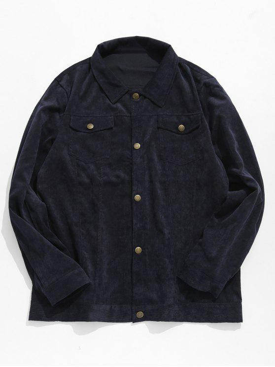 chic Button Up Turn Down Collar Coat - CADETBLUE M