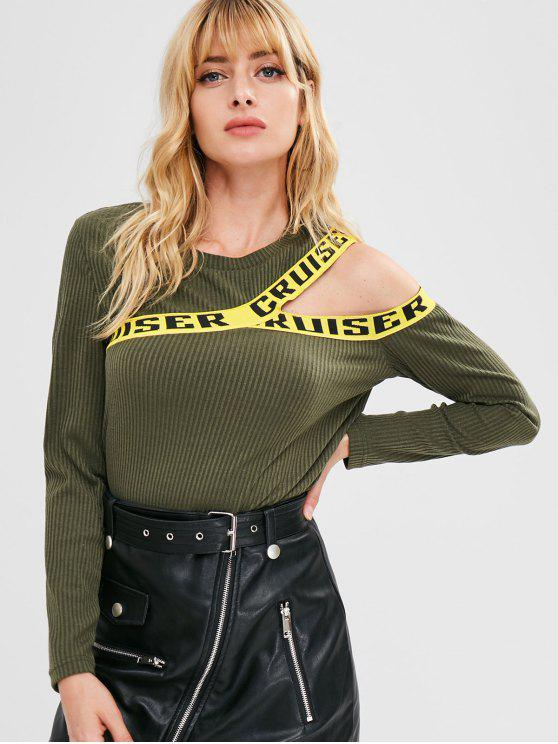 women's Contrasting Graphic Cutout Ribbed Top - ARMY GREEN M