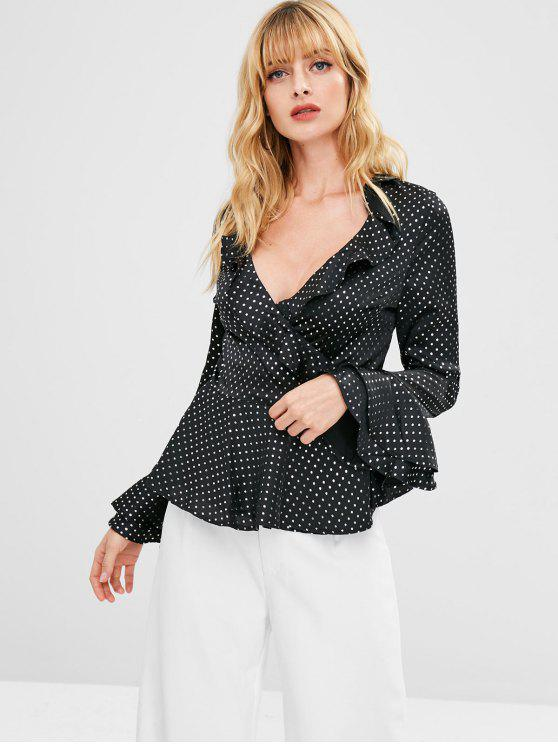 633acbfd41a092 22% OFF] 2019 Ruffles Shiny Polka Dot Wrap Top In BLACK | ZAFUL