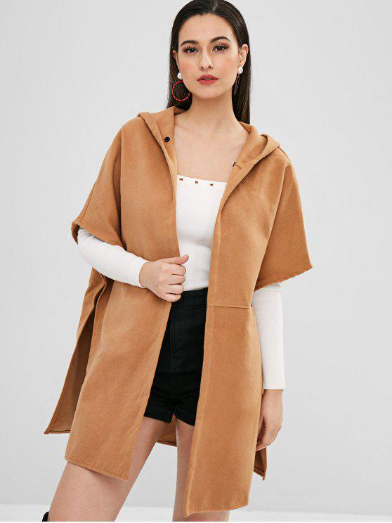 women's Batwing Oversized Poncho Hooded Coat - LIGHT BROWN S