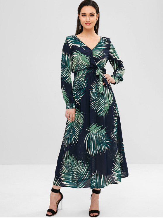 ladies Leaf Print Maxi Dress - MULTI L