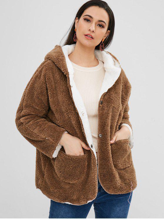 chic Fluffy Hooded Raglan Sleeve Coat - DARK KHAKI S