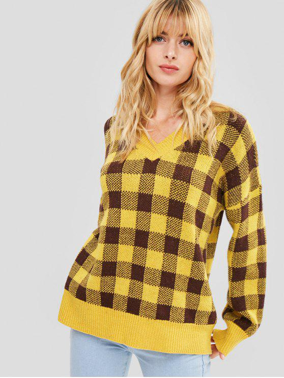 women's Oversized Plaid Sweatshirt - YELLOW ONE SIZE
