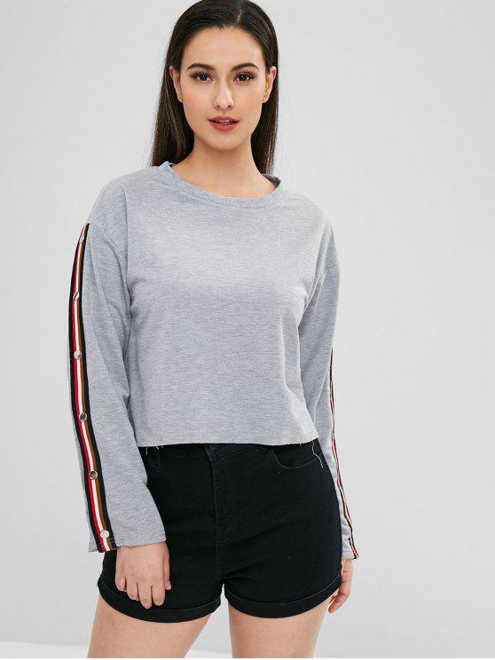 ladies Striped Trim Raw Hem Sweatshirt - GRAY M
