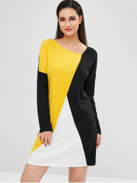 women Skew Collar Patchwork T-shirt Dress - BLACK S