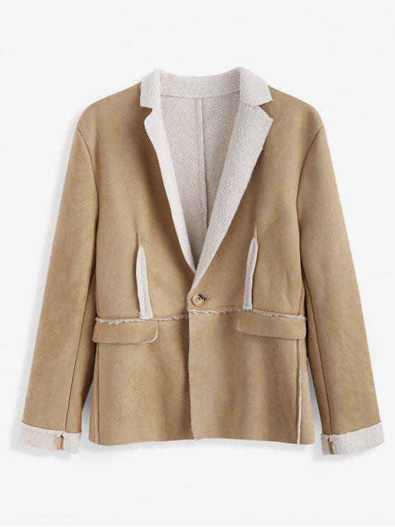 womens Faux Shearling Lapel Collar Jacket - KHAKI XS