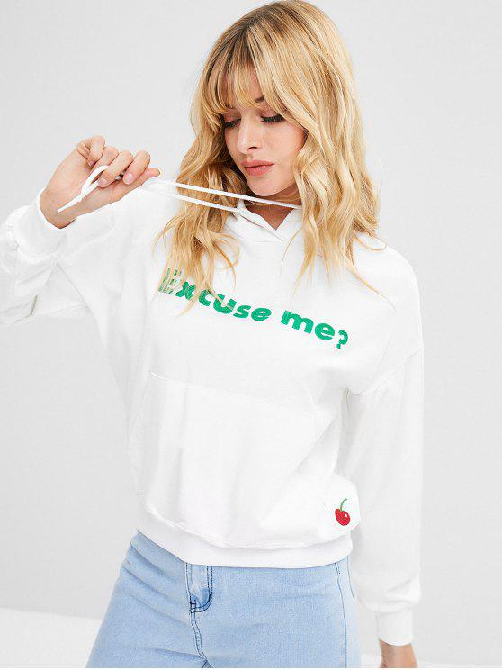 lady Letter Cherry Patch Hoodie - WHITE ONE SIZE