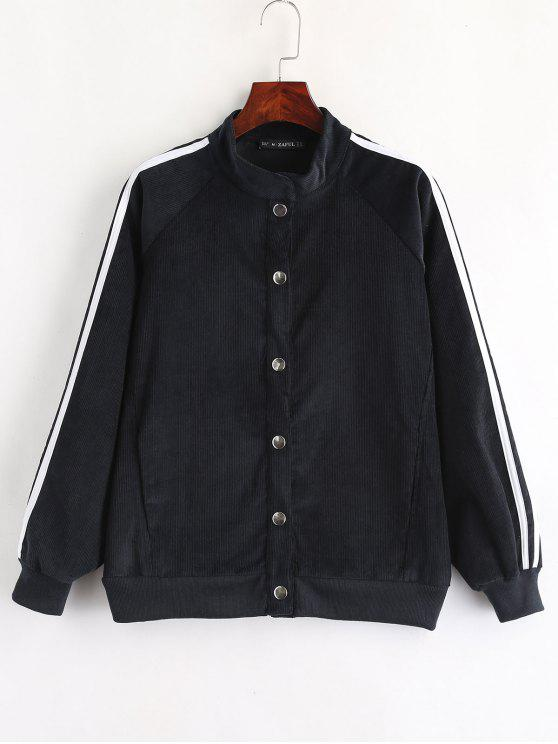 shop ZAFUL Snap Button Stripes Corduroy Jacket - DARK SLATE BLUE M