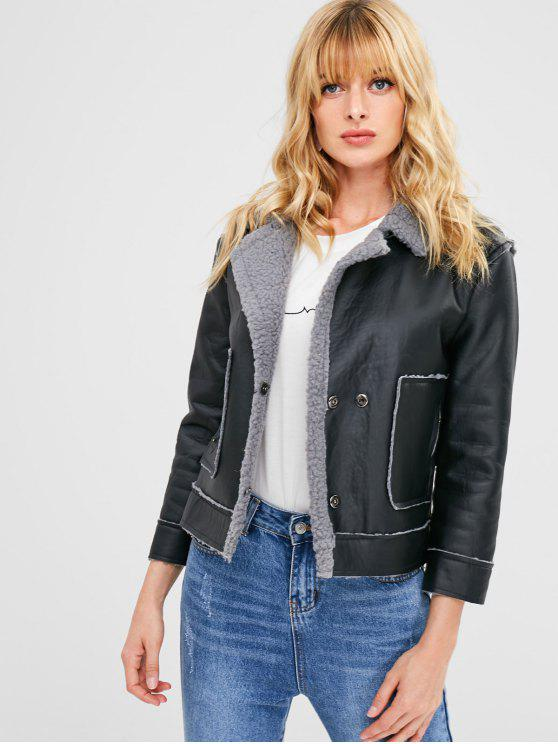 new Faux Shearling Leather Jacket - BLACK L