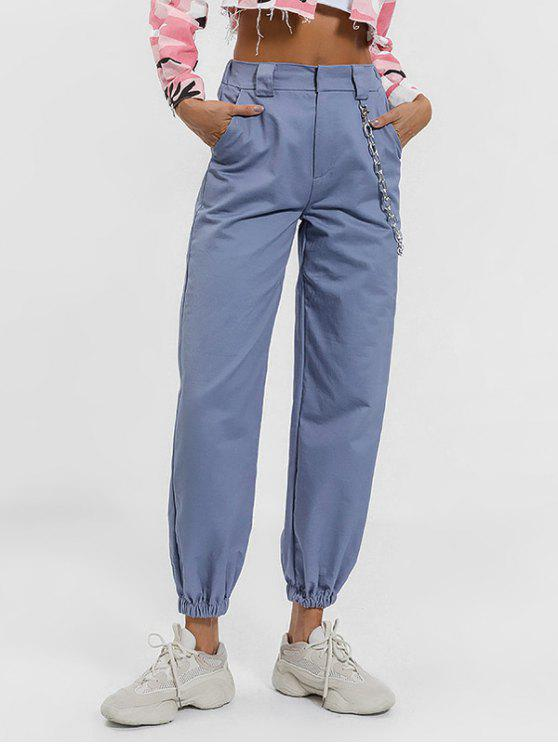 chic Chain Embellished Jogger Pants - BLUE GRAY M