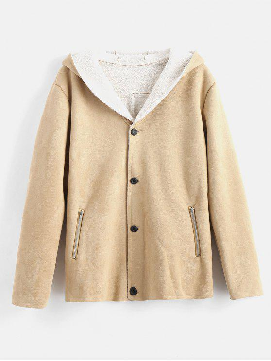 Abrigo con capucha de piel de oveja de imitación - Caqui M
