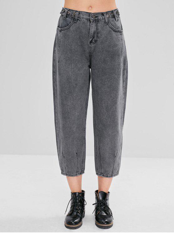 Jeans Capri soltos com zíper - Cinza de Carbono XL