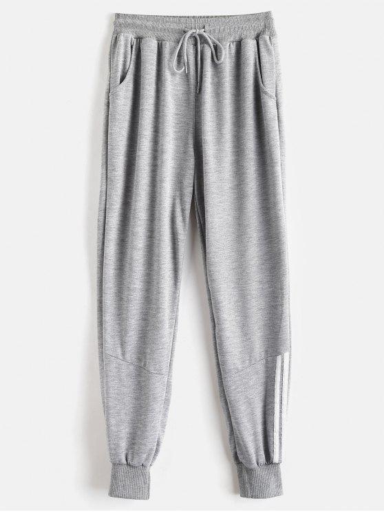 Pantalones deportivos de panel a rayas - Nube Gris XL