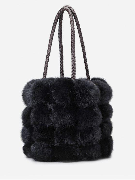 da98cac1547 2019 Faux Fur String Design Handbag In BLACK   ZAFUL