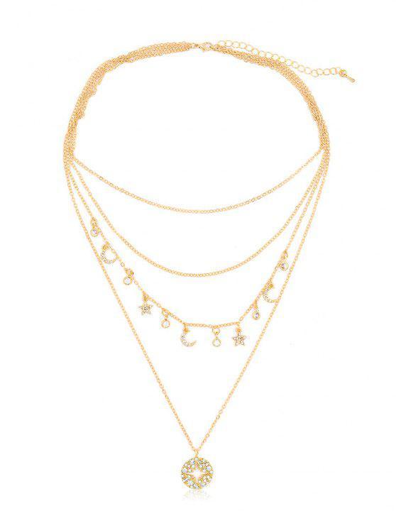 best Rhinestone Star Moon Multi Layers Necklace - GOLD