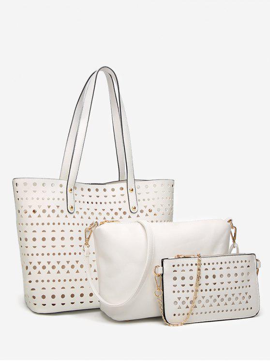 online Hollow Out 3 Pieces Shoulder Bag Set - WHITE