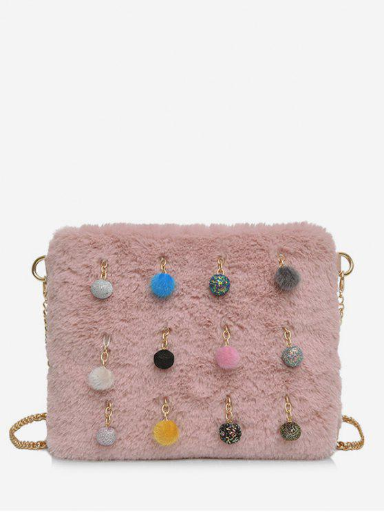 outfits Ball Faux Fur Chain Crossbody Bag - LIGHT PINK