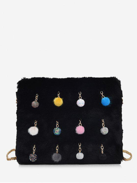 latest Ball Faux Fur Chain Crossbody Bag - BLACK