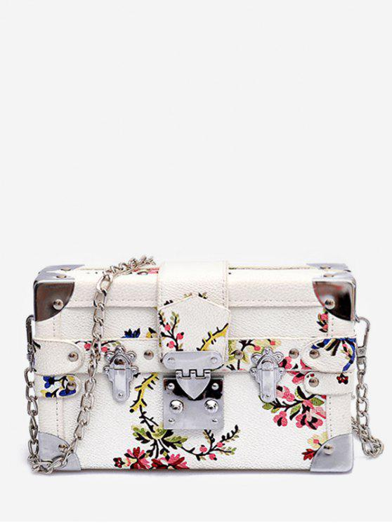 affordable Going Out Flower Print Crossbody Bag - WHITE
