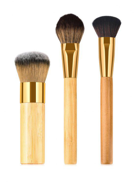 hot Cosmetic 3 Pcs Bamboo Handles Synthetic Fiber Hair Powder Brush Suit - WOOD