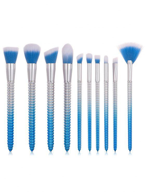 outfit 10 Pcs Corn Shape Handles Fiber Hair Makeup Brush Suit - CRYSTAL BLUE