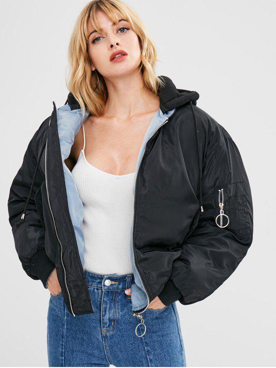 hot Zip Up Hooded Puffer Jacket - BLACK M