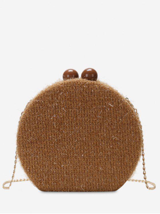 shops Round Shape Hasp Chain Crossbody Bag - BROWN