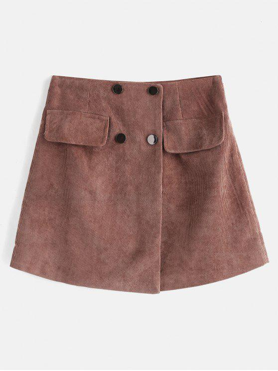 trendy Button Embellished Mini Skirt - COFFEE L