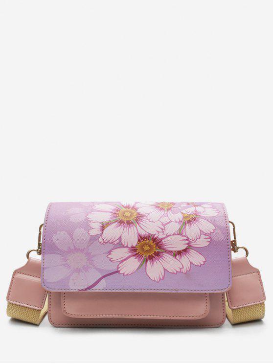 buy Flower Print PU Leather Crossbody Bag - LIGHT PINK