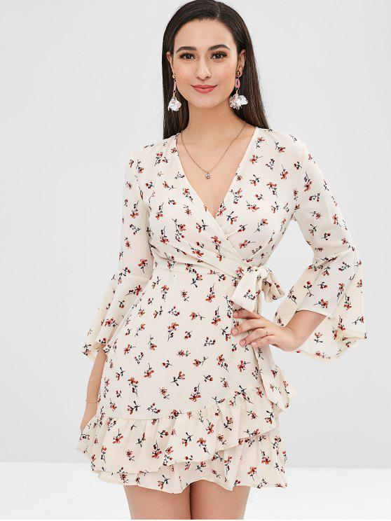ladies Floral Tier Flounce Flare Sleeve Dress - MULTI M