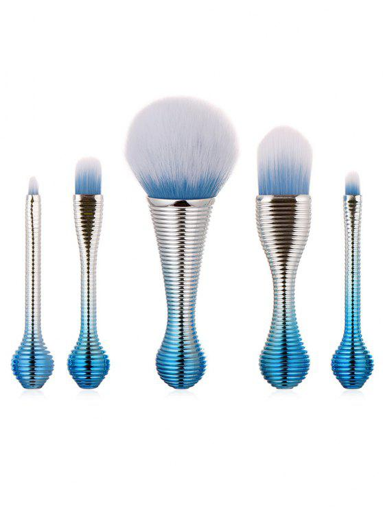 shops 5Pcs Stripe Handles Ultra Soft Eyeshadow Powder Brush Set - CRYSTAL BLUE