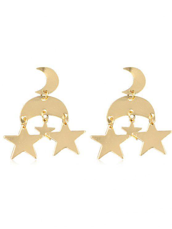 shop Vintage Star Moon Alloy Drop Earrings - GOLD