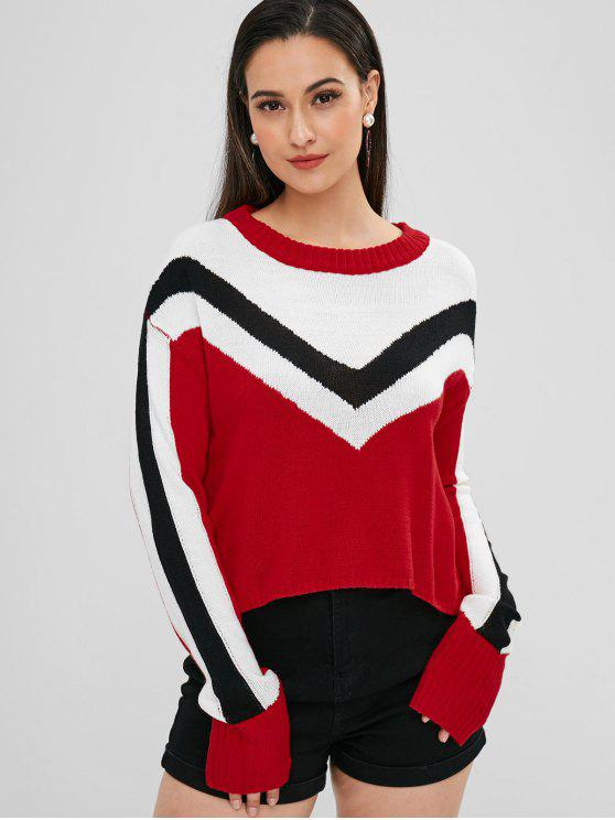 latest Three Tone Graphic Christmas Sweater - RED M