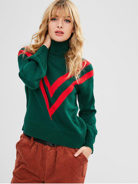 Laterne Ärmel High Neck Christmas Sweater - Dschungel Grün M