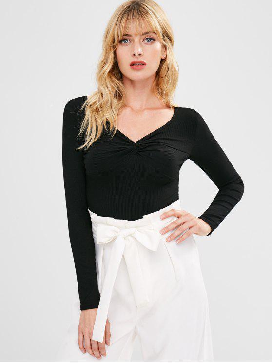 Twist Front T-Shirt - Schwarz Eine Größe