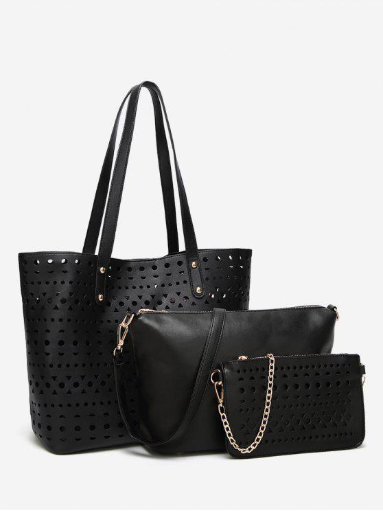 ladies Hollow Out 3 Pieces Shoulder Bag Set - BLACK