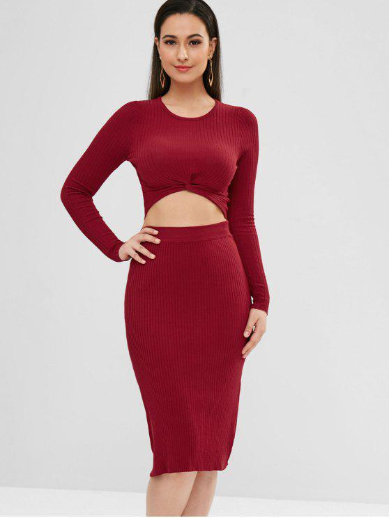 Ribbed Twisted Top und Rock Set - Roter Wein L