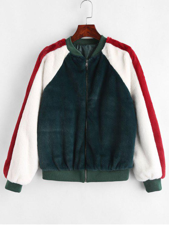 fashion Color Block Fluffy Jacket - DEEP GREEN L