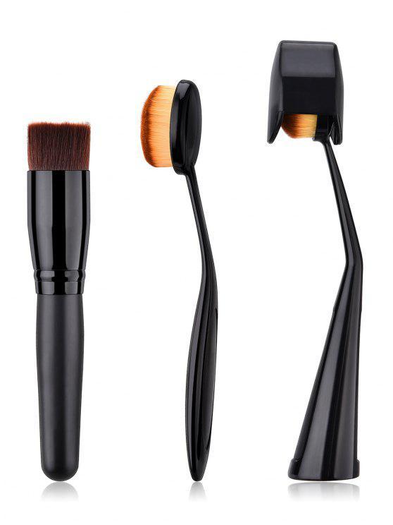 chic 3 Pcs Toothbrush Shape Liquid Foundation Brush Set - BLACK
