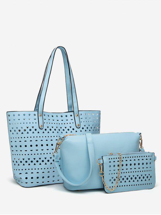 buy Hollow Out 3 Pieces Shoulder Bag Set - DEEP SKY BLUE