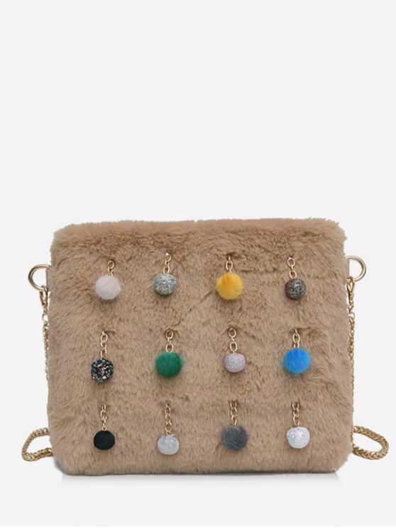 women Ball Faux Fur Chain Crossbody Bag - LIGHT KHAKI