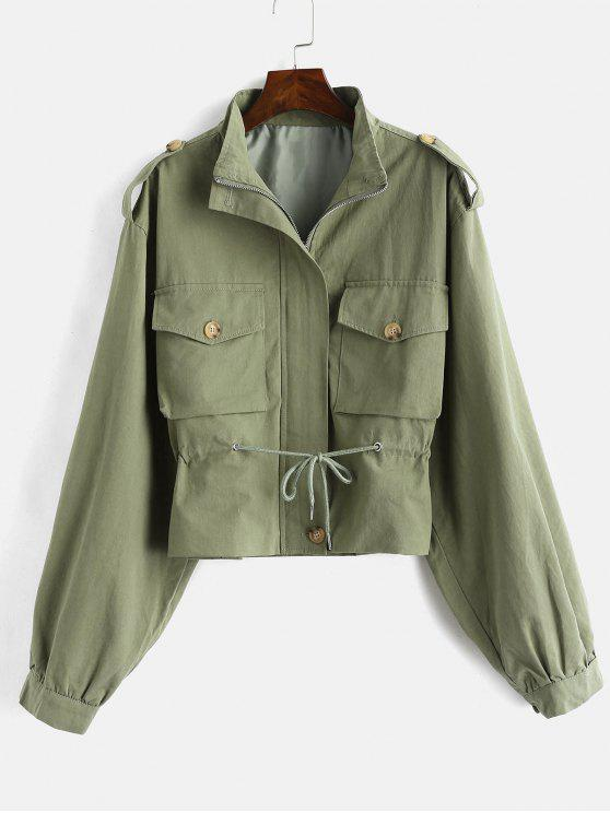 Drop Shoulder Pocket Reißverschlussjacke - Farngrün L