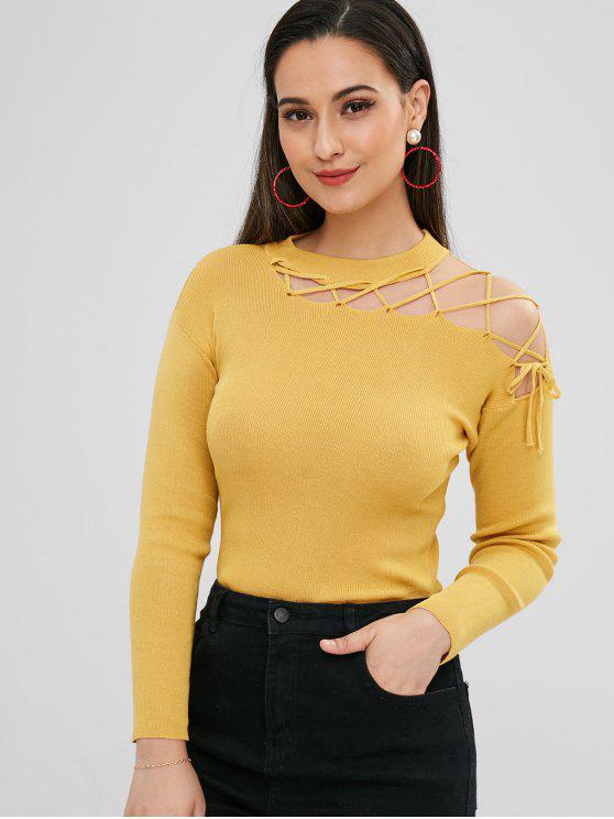 Ausgeschnittener Sweater mit Rippenmuster - Dunkel Gelb Eine Größe
