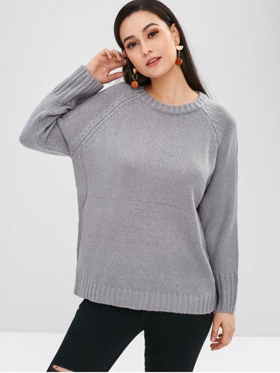 sale Raglan Sleeves Loose Sweater - BLUE GRAY ONE SIZE
