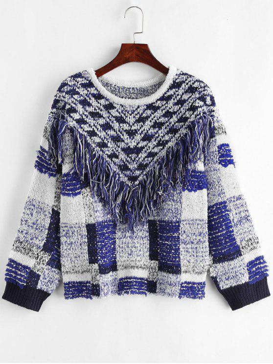 outfits Geometric Fringed Drop Shoulder Sweater - MULTI ONE SIZE